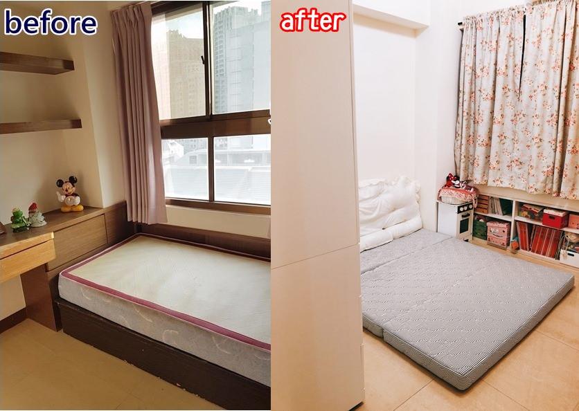 【中古屋改造】兒童房/客房收納與改造 (雙胞胎女生一起住也能有舒適空間感)